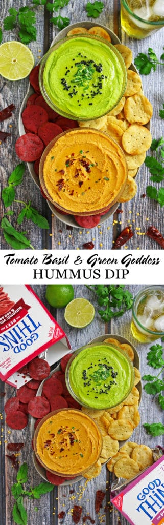 Tomato Basil Hummus Dip Green Goddess Hummus Dip #TrySomeTHINGood