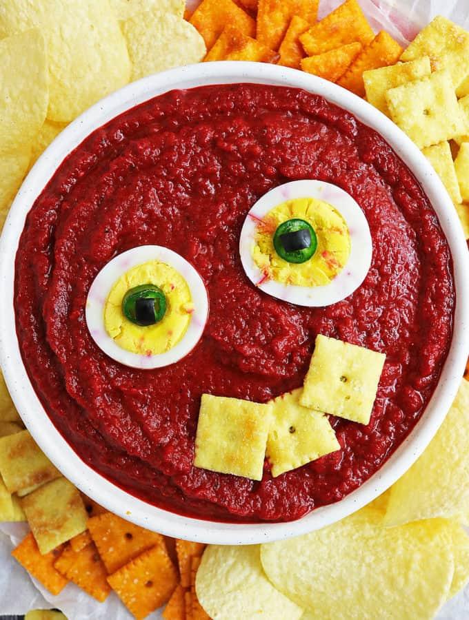 Bloody Messy Eyeball Dip {Roasted Red Pepper Beet Dip}