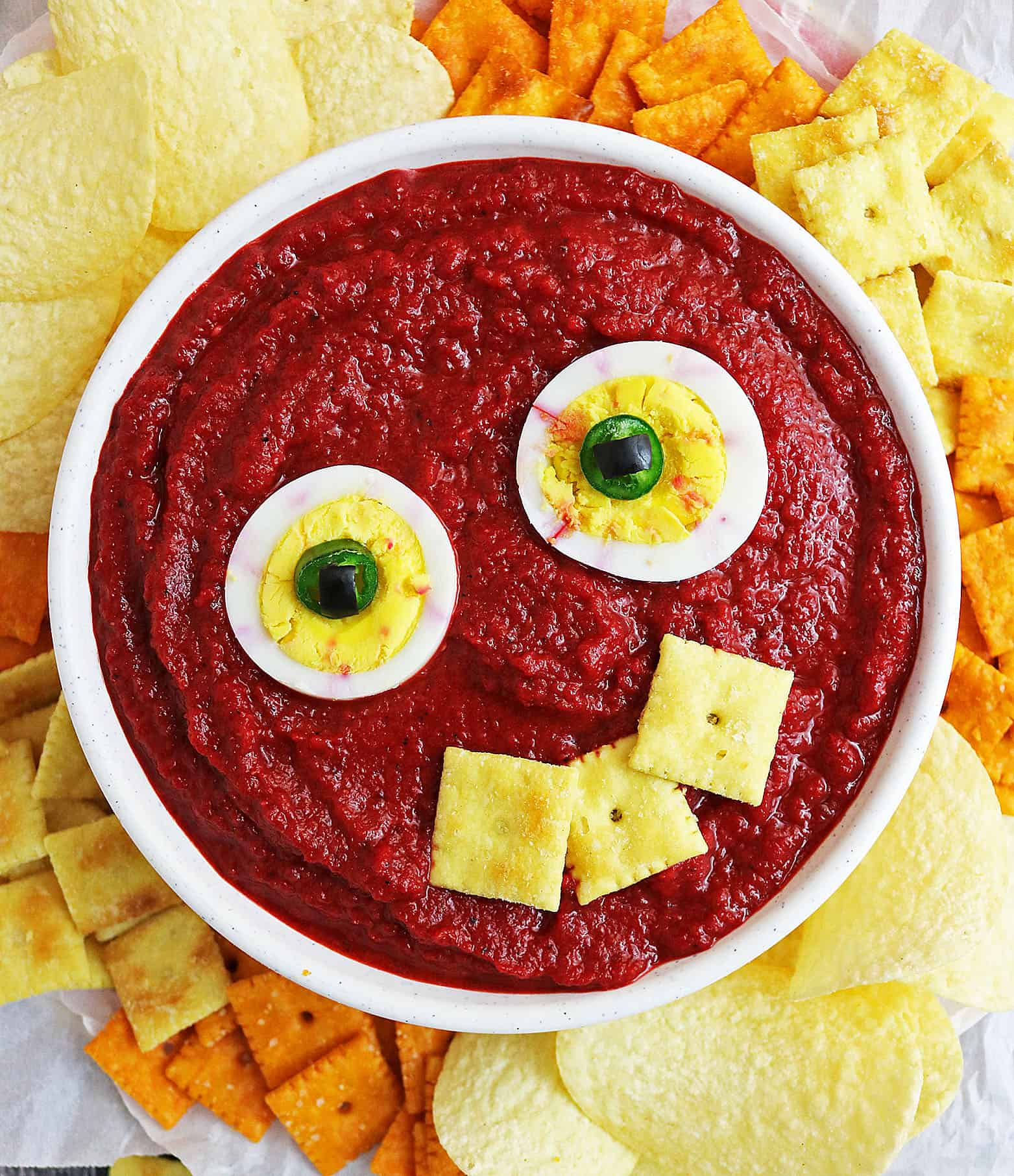 bloody messy eyeball dip {roasted red pepper beet dip}