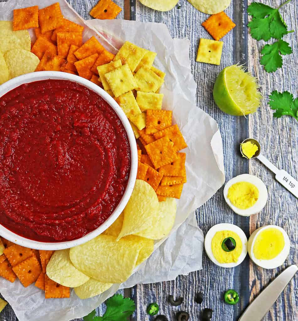 Bloody Mess Roasted Red Pepper Beet Dip With Eyeballs