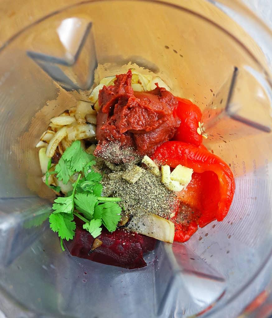 Roasted Red Pepper Beet Dip Prep