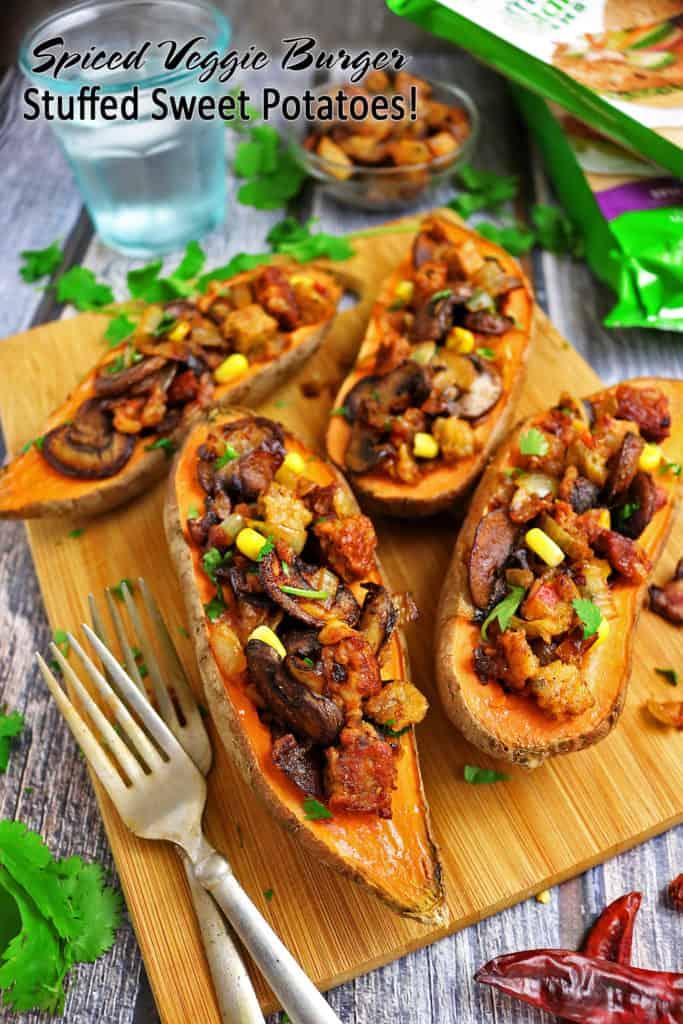 Spiced Veggie Burger Stuffed Sweet Potatoes