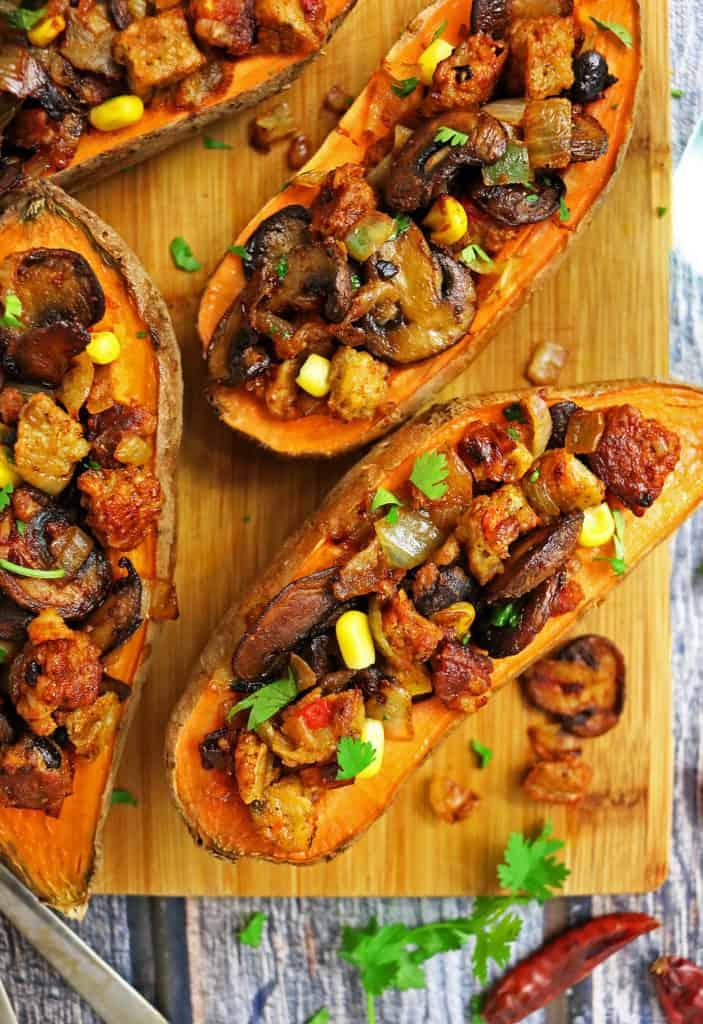 Sweet Potatoes Stuffed With Spiced Veggie Burger Mix