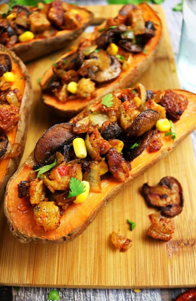 Sweet Potatoes Stuffed With Veggie Burgers