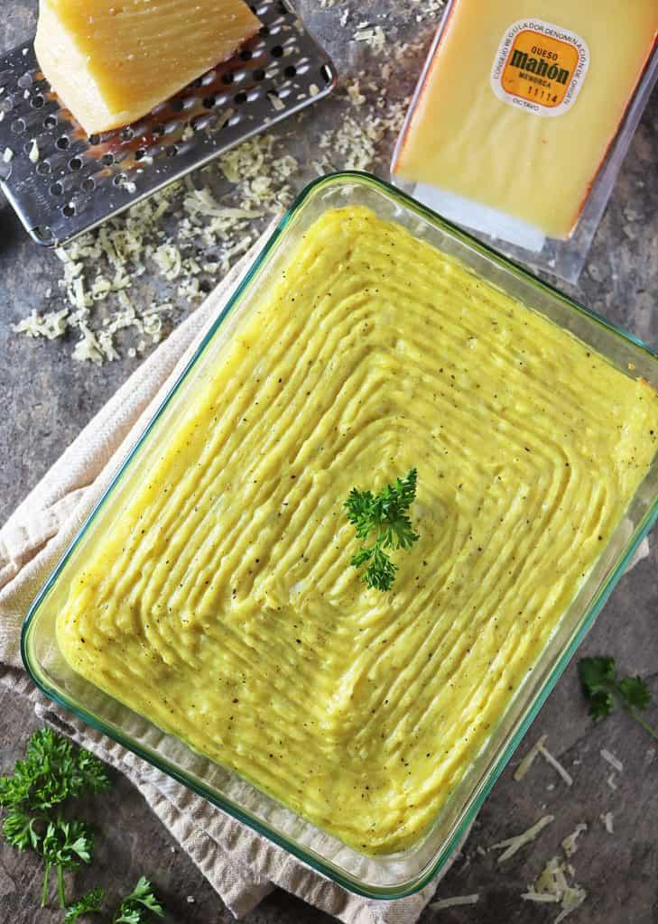 Baked Cheesy Mashed Turmeric Potatoes