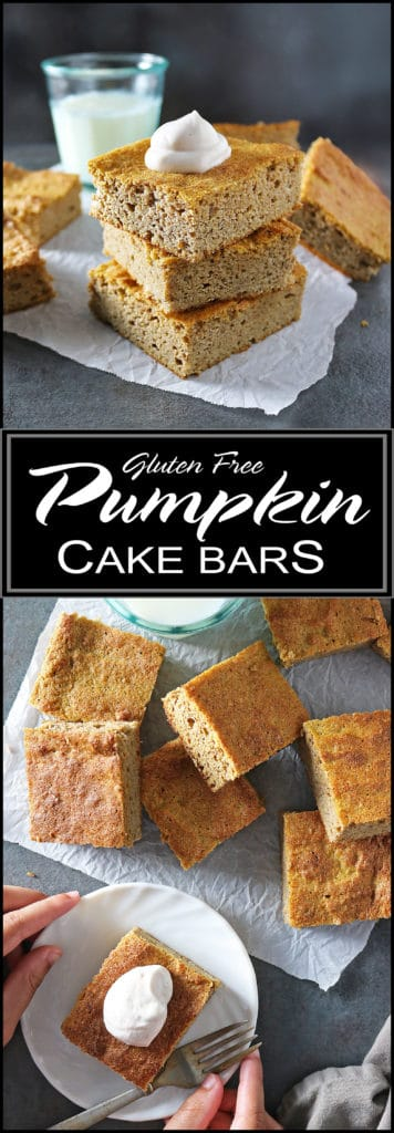 Easy, Gluten Free, Refined Sugar Free, Pumpkin Cake Bars