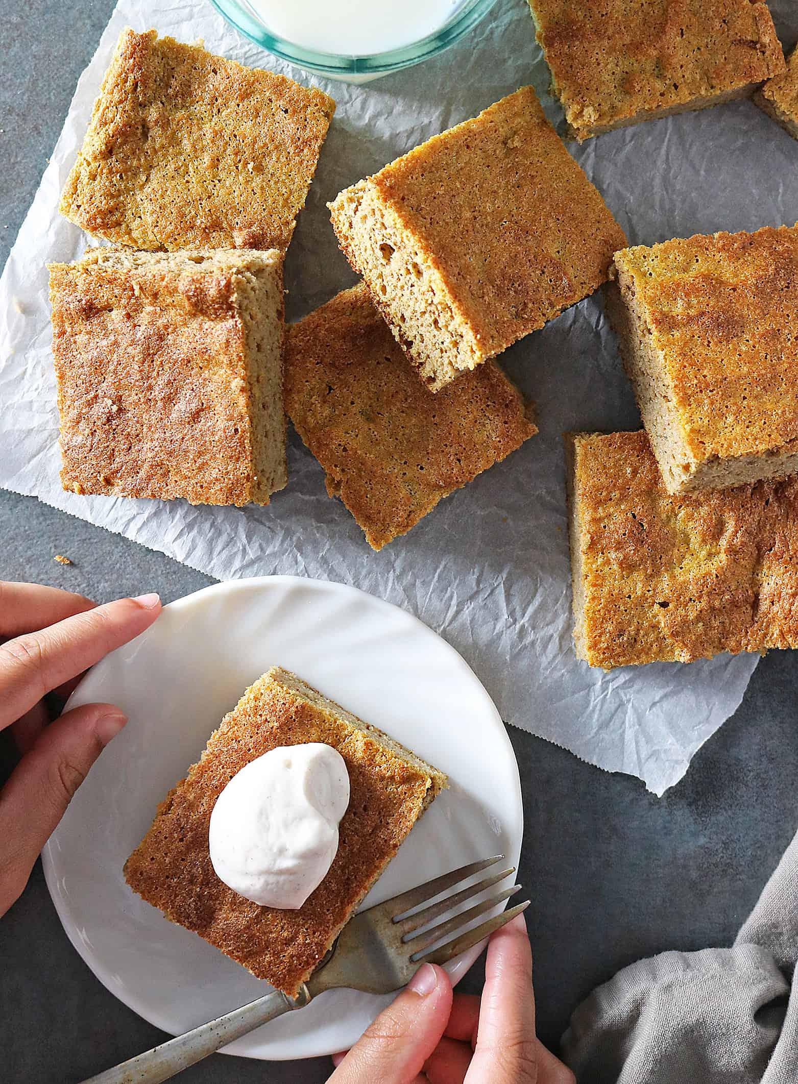 Easy Refined Sugar Free Gluten Free Pumpkin Cake Bars