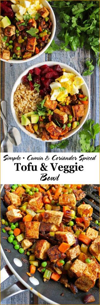 Simple Cumin Coriander Spiced Tofu Veggie Bowl