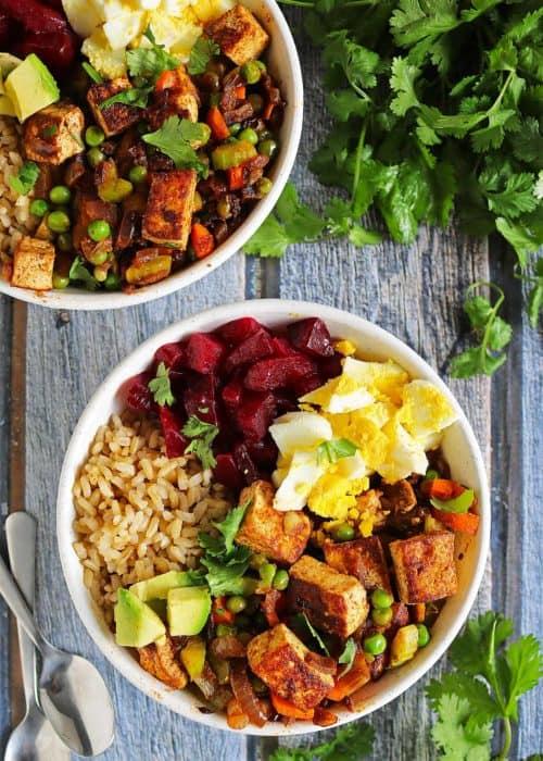 Easy Cumin & Coriander Spiced Tofu & Veggie Bowl