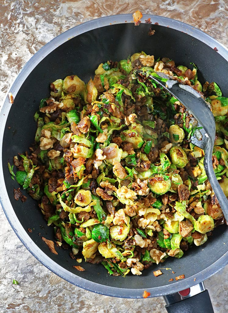 BrusselsSprouts MorningStar Farms Grillers Crumbles Walnuts Prep