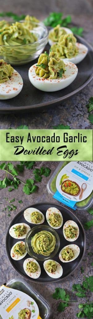 Easy Devilled Avocado Garlic Eggs #SimplyAvocado