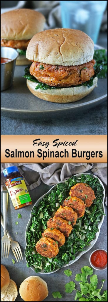 Easy Salmon Spinach Burgers #NatureMadeVitaminD