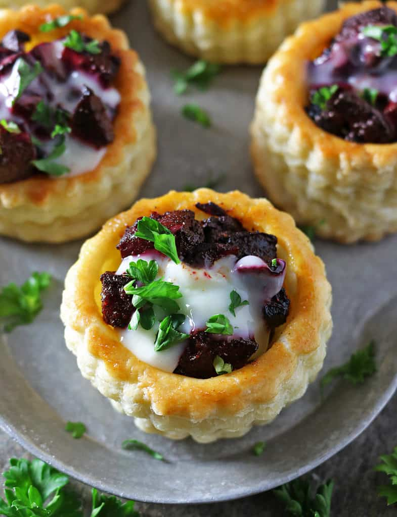 Goat Cheese Beetroot Puff Pastry Stacks