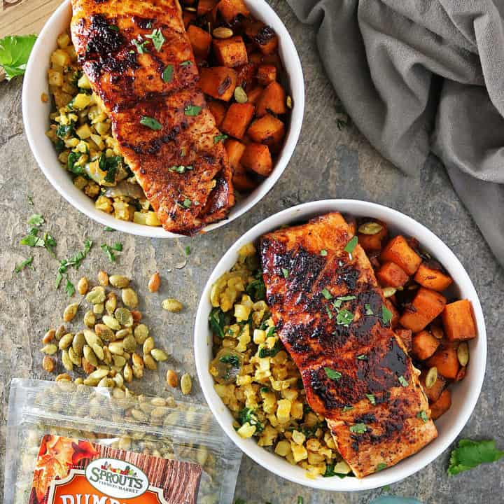 Honey Chili Salmon And Sweet Potato Bowls