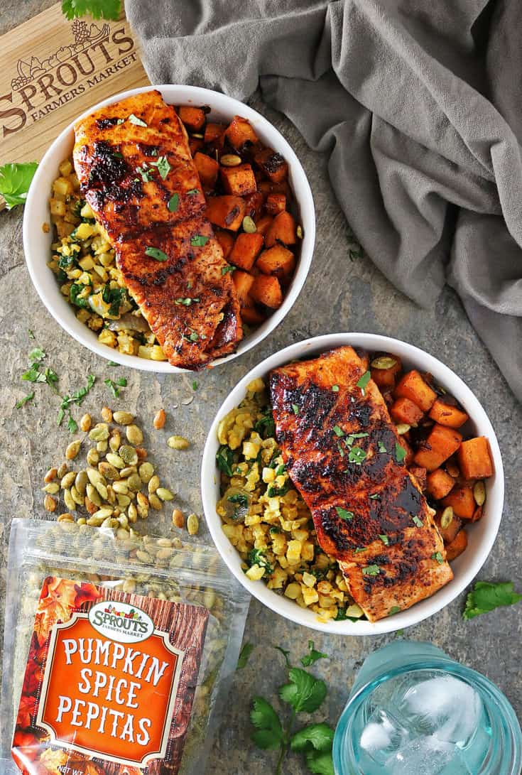 30 Minute Honey Chili Salmon And Sweet Potato Bowls
