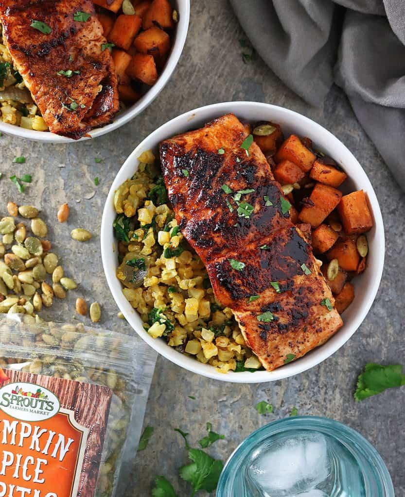 Honey Chili Salmon And Sweet Potato Caveman Bowls