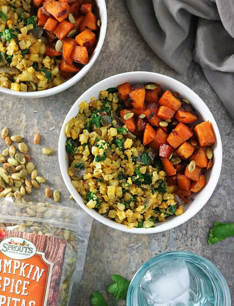 Honey Chili Sweet Potatoes And Turmeric Cauli Rice