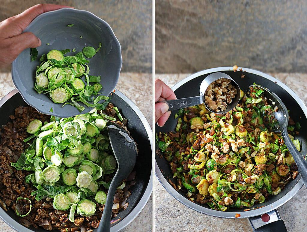 In The Pan BrusselsSprouts Onions MorningStar Farms Grillers Crumbles Walnuts