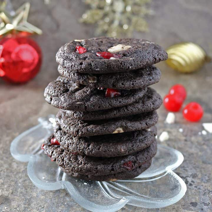 Chocolate Peppermint Cherry Cookies