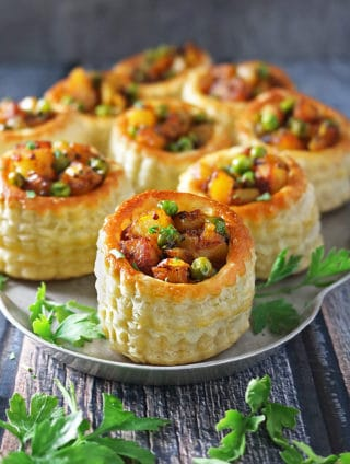 Easy Spiced Potato Puff Pastry Baskets