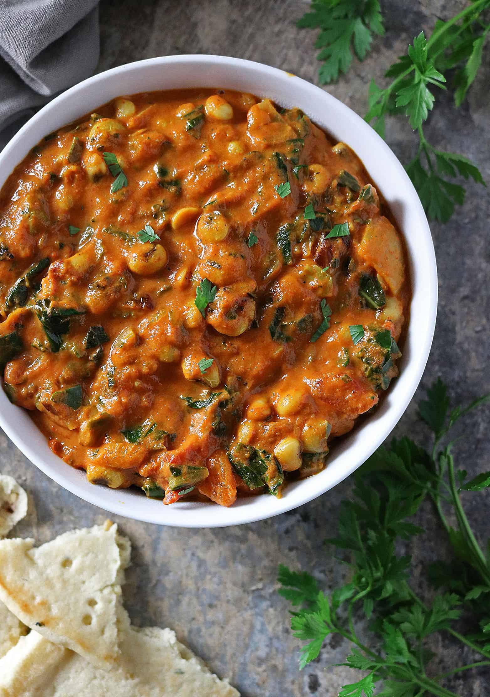 Healthy Black Eyed Peas Collard Greens Curry