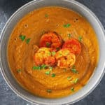 Curried Butternut Squash Soup And Spicy Shrimp