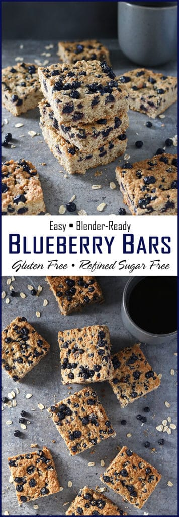 Easy Blender Ready Gluten Free Refined Sugar Free Blueberry Bars