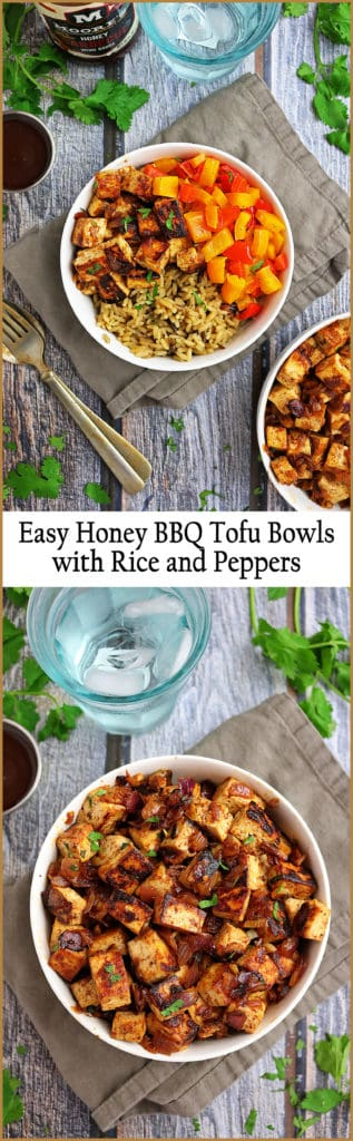 Easy Honey BBQ Tofu Bowl with Rice and Peppers - made with Moore's Marinades and Sauces