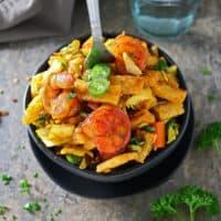 Easy Sri Lankan Shrimp Kottu Roti/Kothu Roti (Spicy Shrimp & Veggies w/Shredded Coconut Roti)