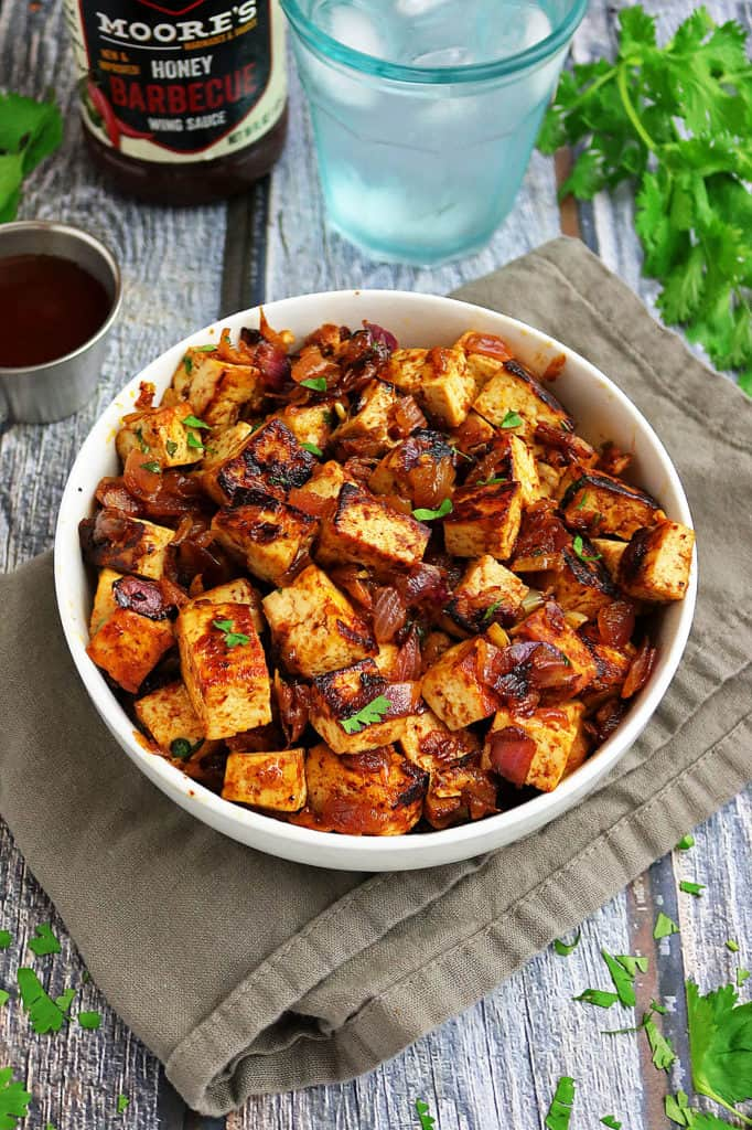 Easy Honey BBQ Tofu Bowls with Rice and Peppers