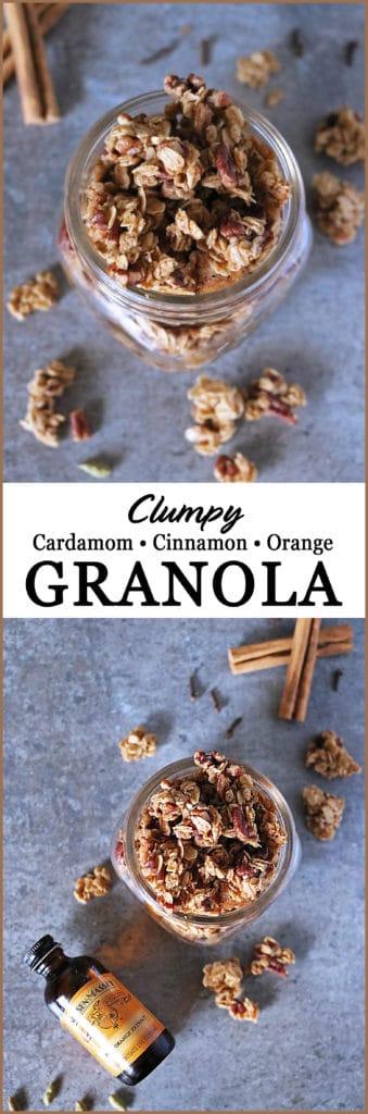 Clumpy Cinnamon Cardamom Orange Granola #mvcon18 #NielsenMassey @mediavine @NielsenMassey