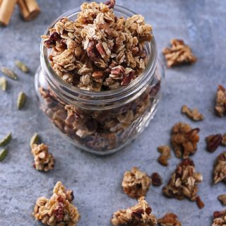 Delicious Clumpy Cinnamon Cardamom Orange Granola