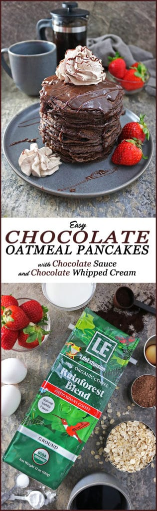 Easy Chocolate Oatmeal Pancakes with Chocolate Sauce and Chocolate Whipped Cream and Life Extension®'s Coffee