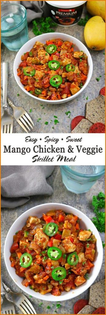 Easy Spicy Sweet Mango Chicken Veggie Skillet With Armour Premium All-Natural Lard #ad #ArmourPremiumLard