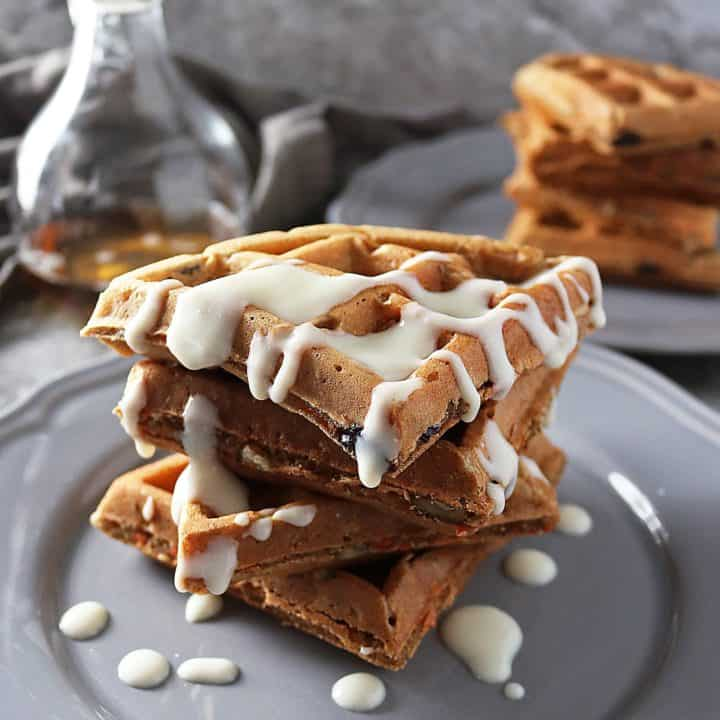 Easy Healthy-ish Carrot Cake Waffles