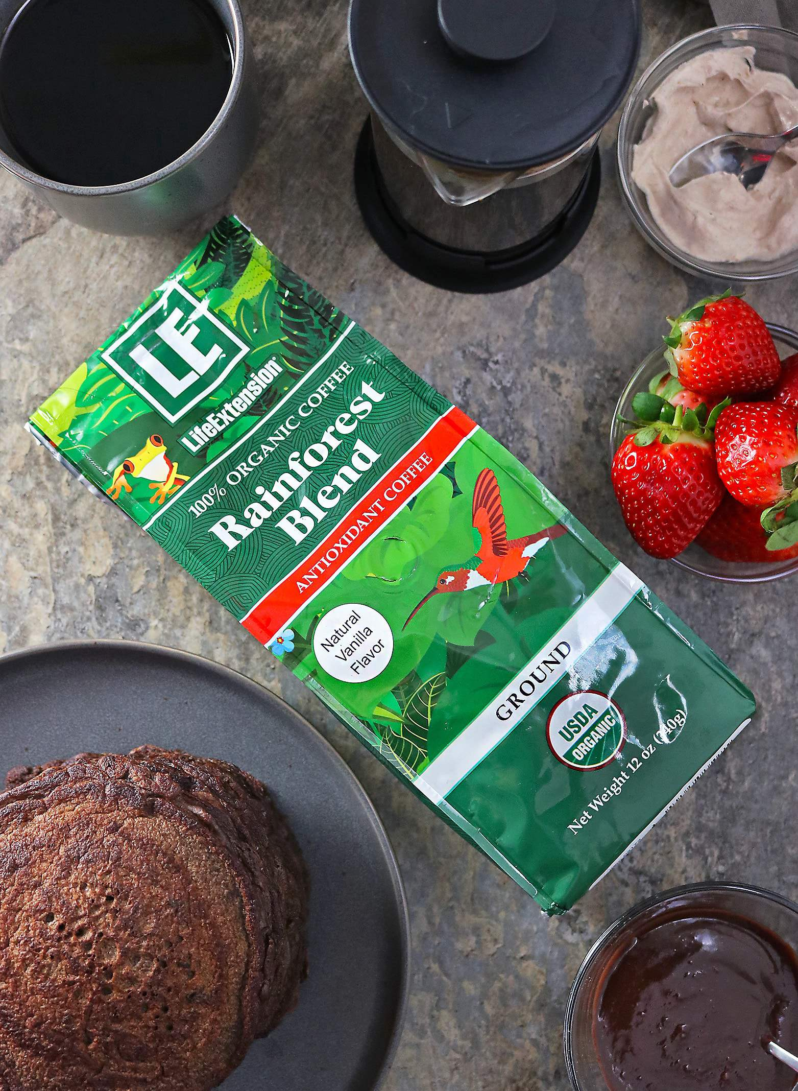 Life Extension Organic Antioxidant Rainforest Blend Coffee and Chocolate Pancakes For Breakfast