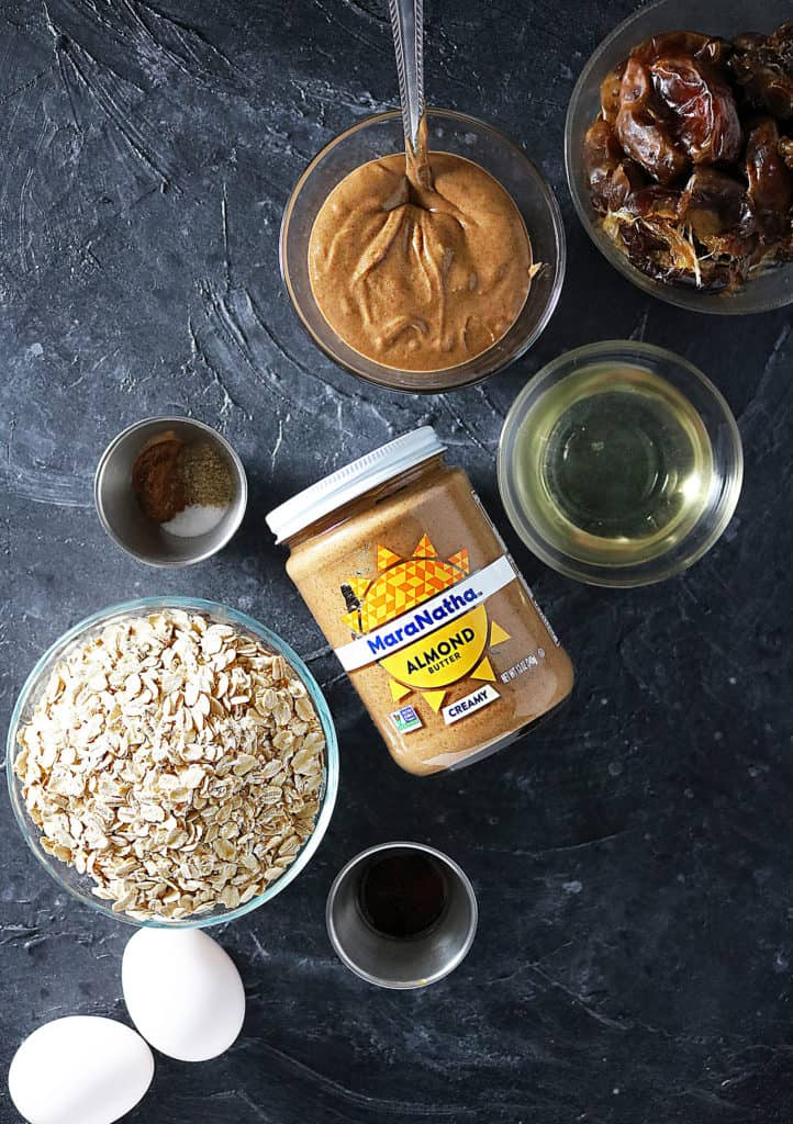 Overhead view of Ingredients to make Almond Date Bars