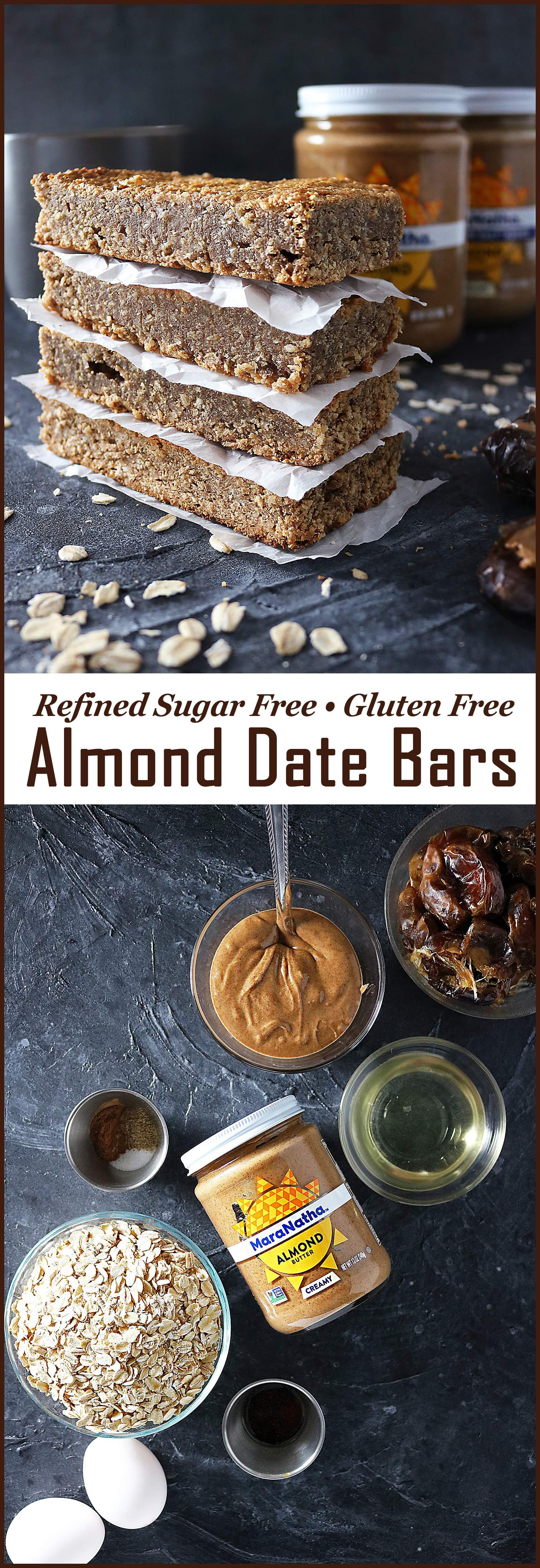 Refined Sugar Free, Gluten Free, Easy Date Almond Butter Bars.