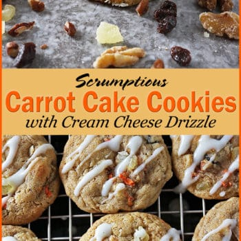Carrot Cake Cookies with Cream Cheese Drizzle