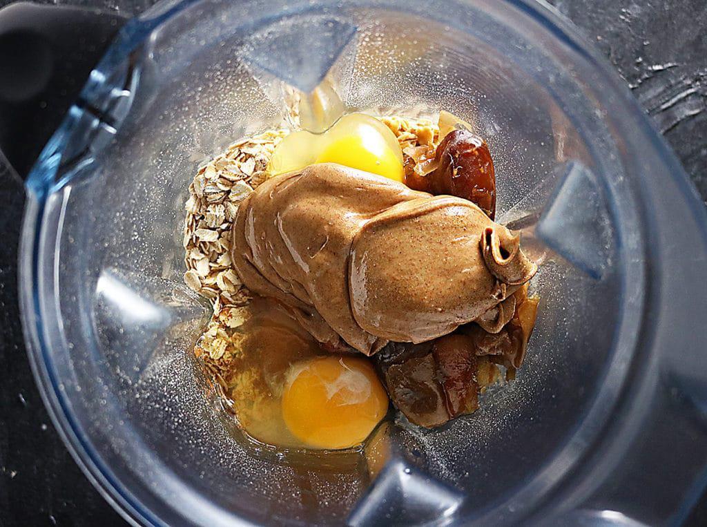 Dates, Almond Butter, Oats, in a blender