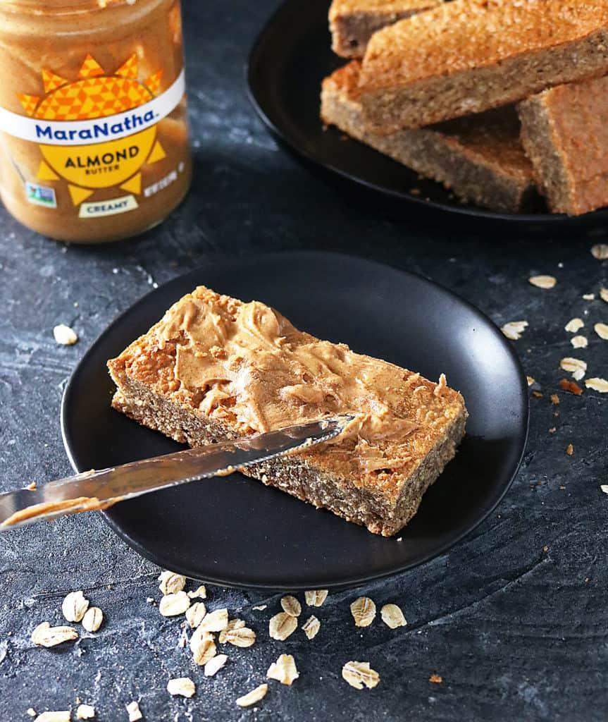 Gluten Free Almond Date Bars slathered with MaraNatha Almond Butter