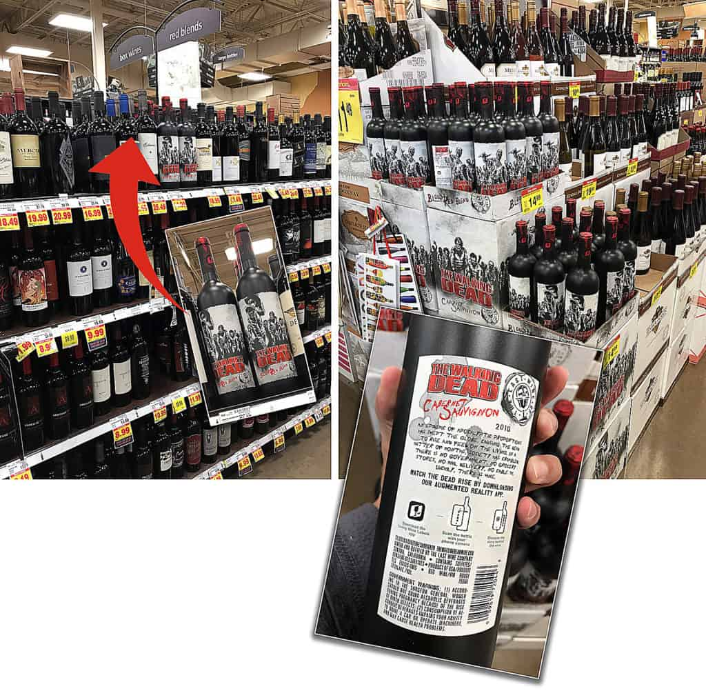 Grocery Store shelf of Living Wine Labels Walking Dead Wines