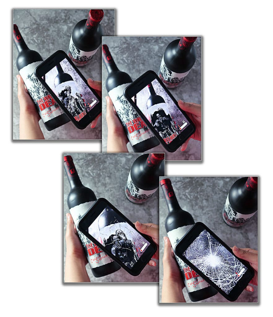 Scanning the Label on the Walking Dead Wine Bottles for a fun experience