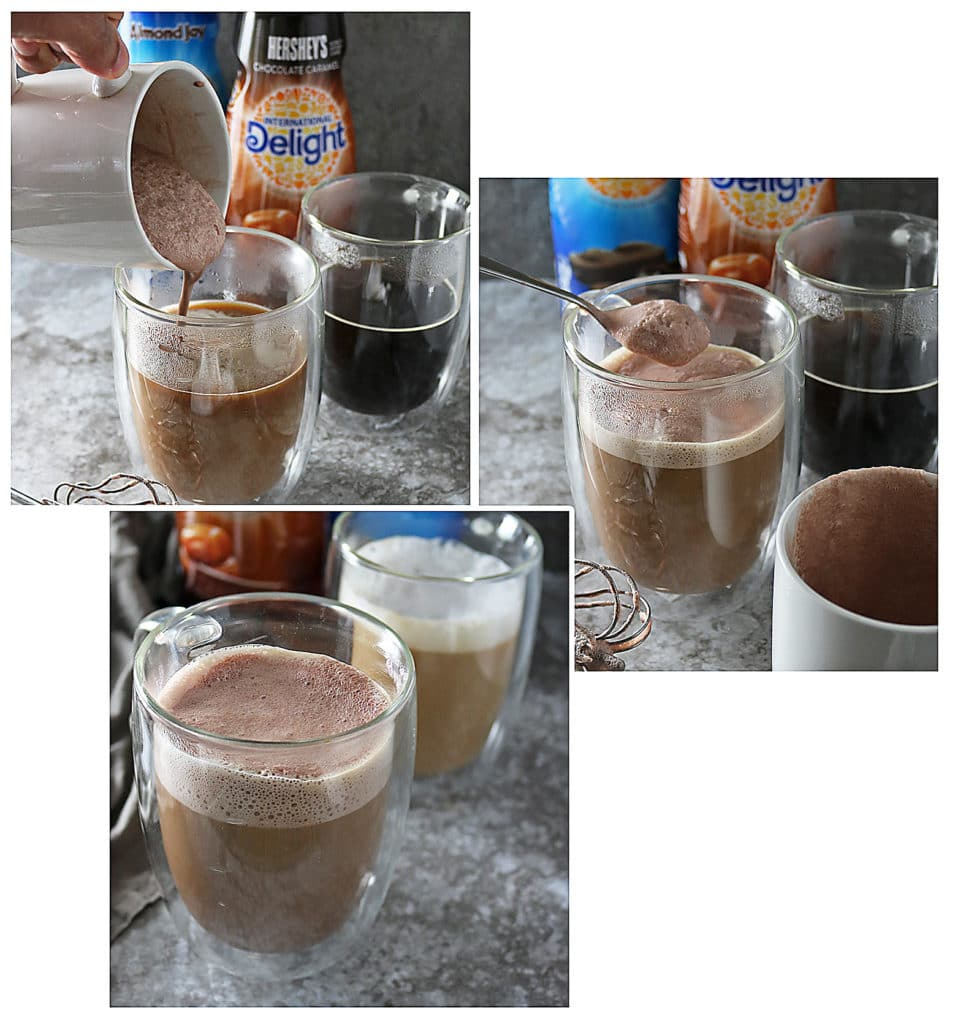 Making Two Ingredient Chocolate Caramel Latte