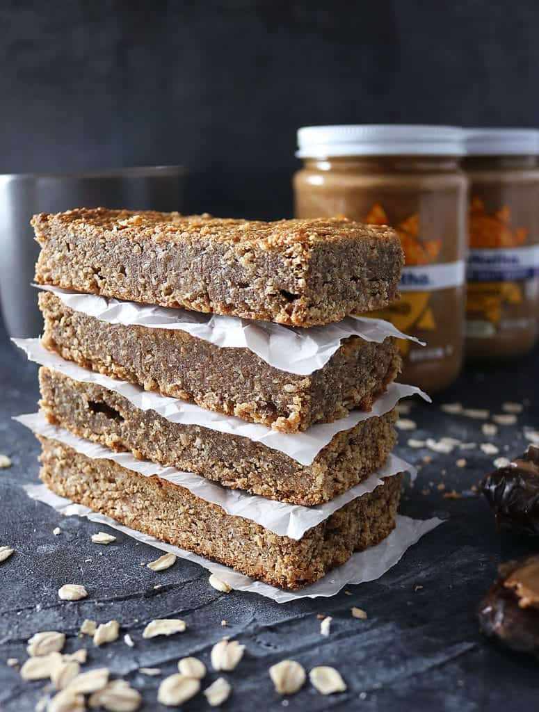 Stack of thick, delicious,, Refined Sugar Free and Gluten Free Date Almond Bars