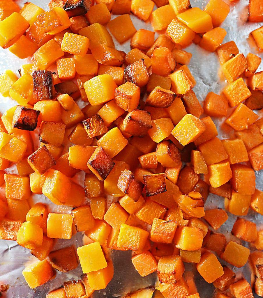 Roasted butternut squash on foil