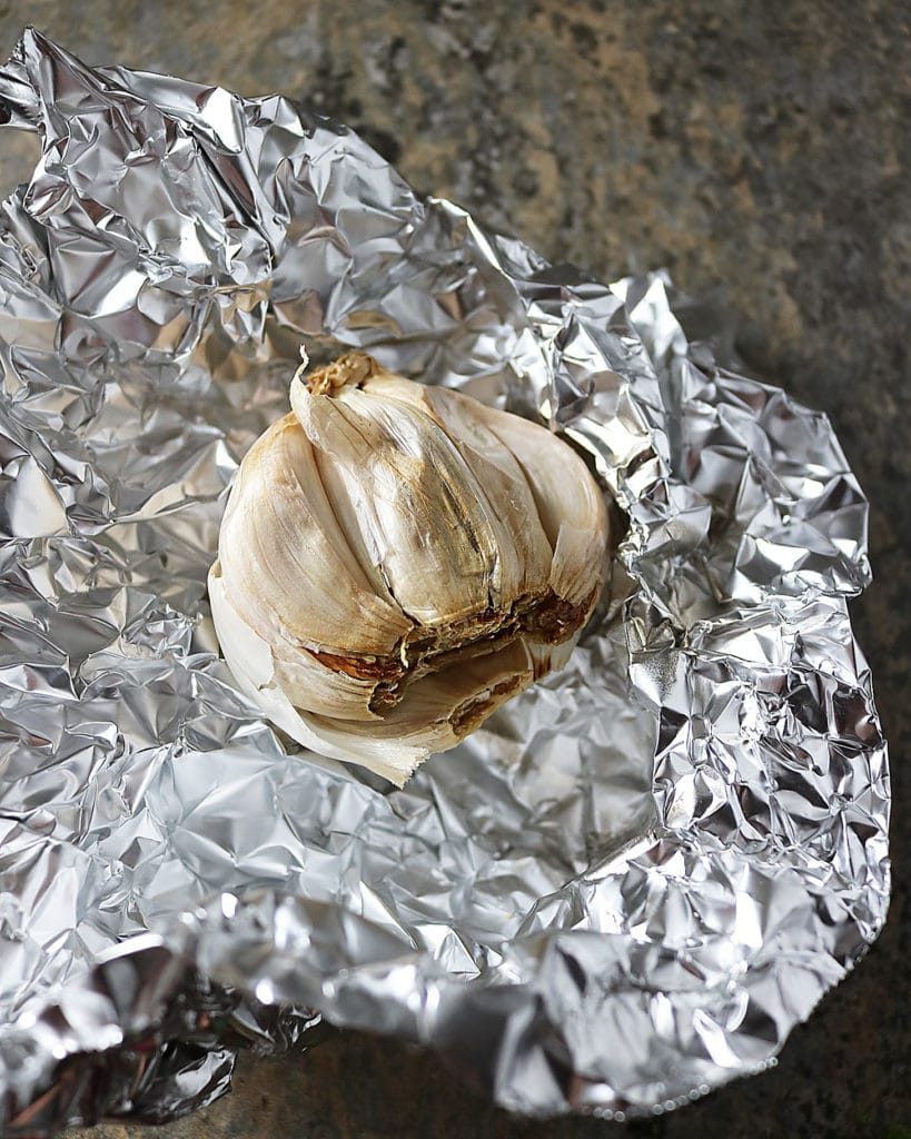 Roasted Garlic in open foil packet