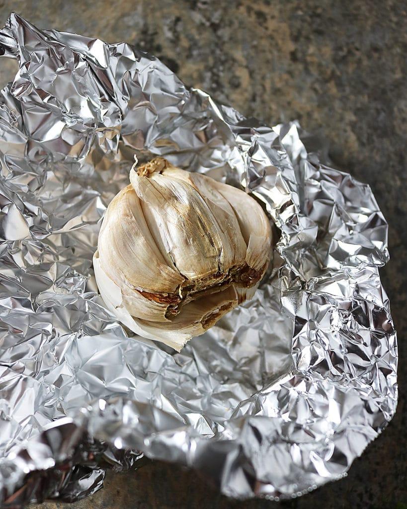 Roasted Garlic in open foil packet