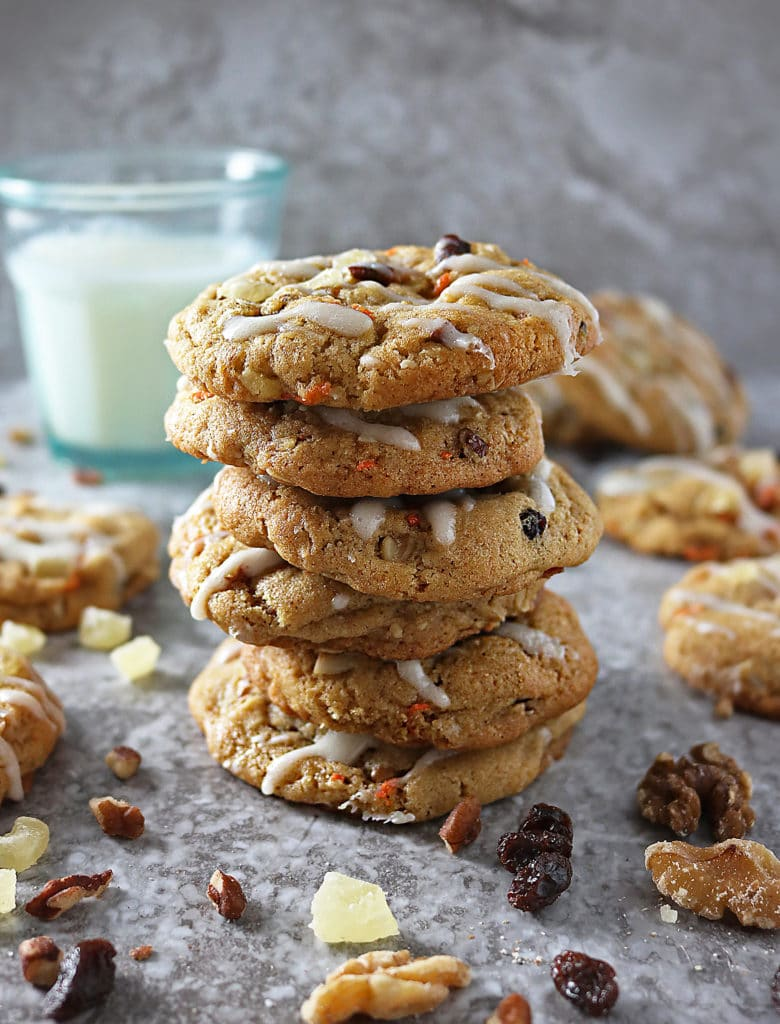 Stack of Soft Chewy Carrot Cake Cookies