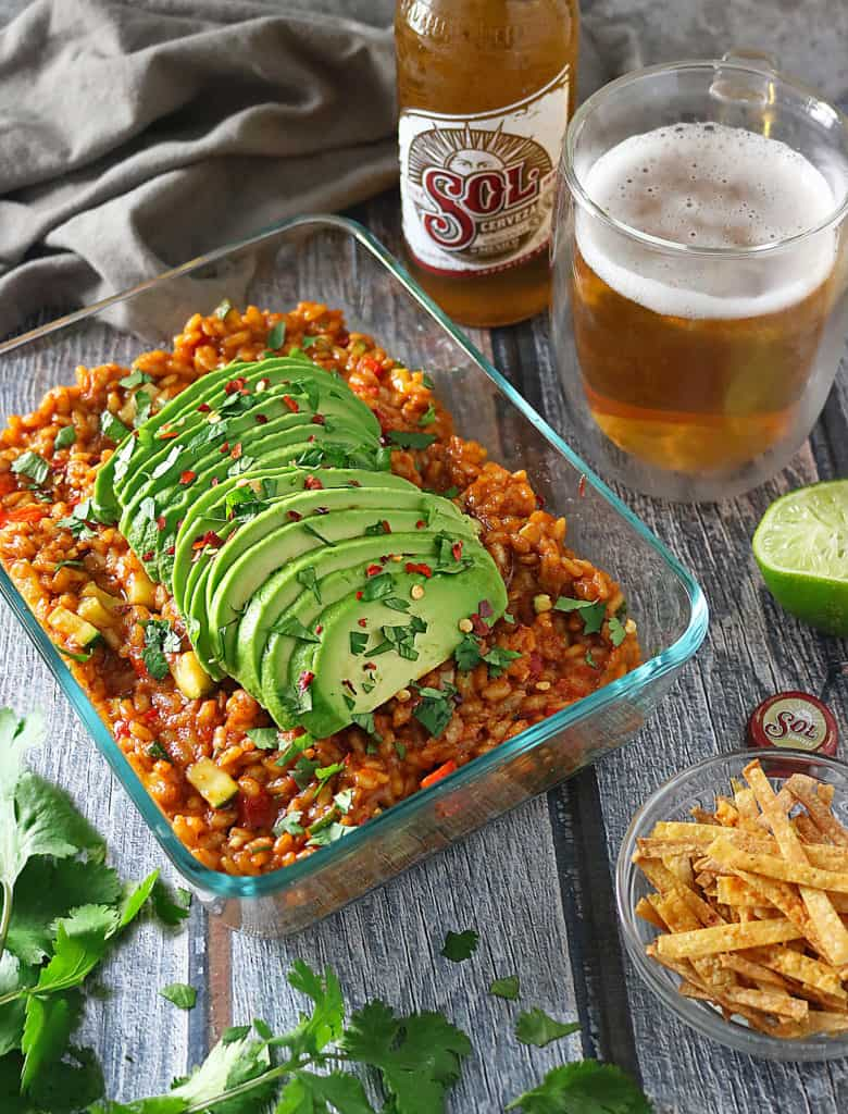 Veggie Enchilada Risotto With Sol Beer